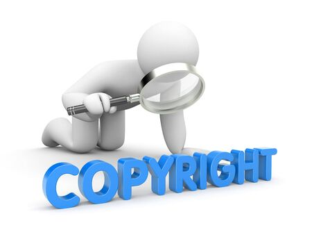 business contract: A person studies the word COPYRIGHT through a magnifying glass