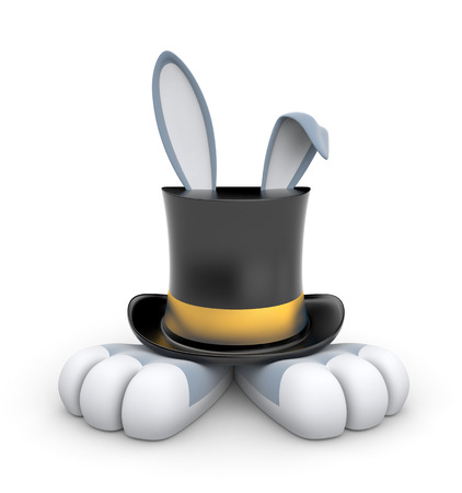 vorstehen: Black Top hat with gold stripe from which protrude Bunny paws and ears Lizenzfreie Bilder