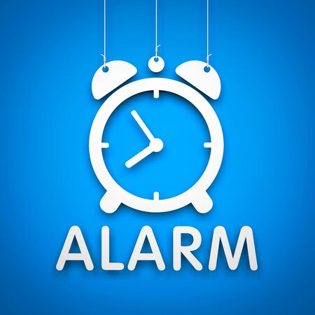 hanging string: Alarm clock - object hanging on the string Stock Photo