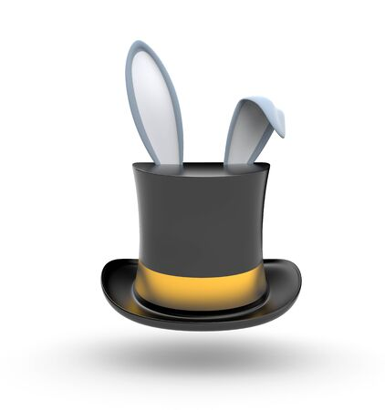 protrude: Black Top hat with gold stripe from which protrude Bunny ears