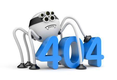 bot: Robot spider and 404 error. Internet metaphor