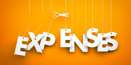 less: Symbolizes discounts and prices drop. White word expenses suspended by ropes on orange background Stock Photo