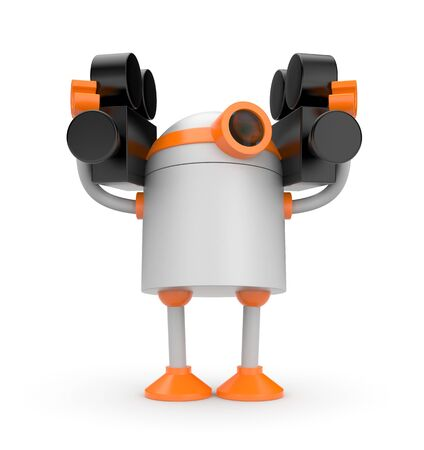 video camera: Funny robot holding a video camera in each hand