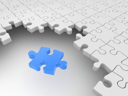 main group: Blue puzzle surrounded by white puzzles. Success metaphor