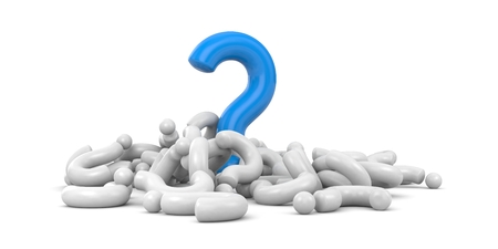 questioner: Blue question rises above gray questions Stock Photo