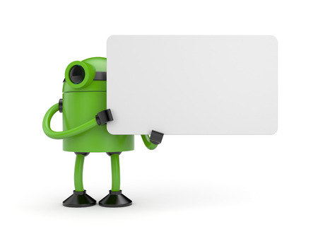 jackplug: Green robot businessman holding a empty sign Stock Photo