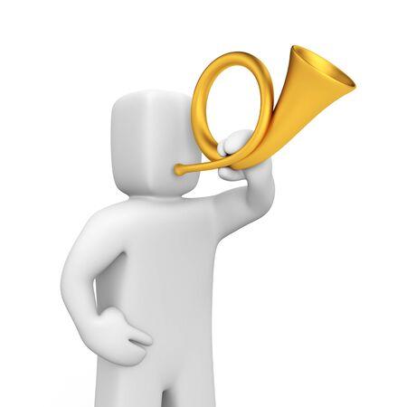 herald: A man blows a gold horn