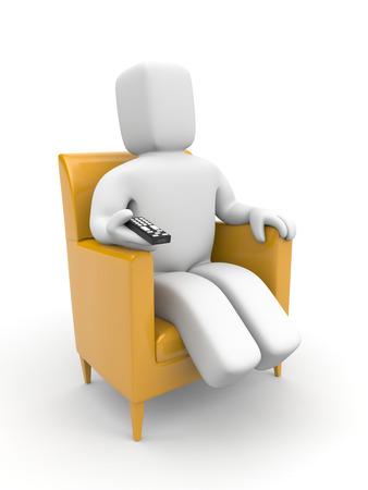 ver television: Persona ver la televisión. Aislado en blanco