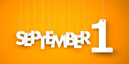 september 1: September 1 -  text hanging on the strings