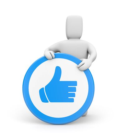 www arm: Person with thumb up sign. Isolated on white Stock Photo