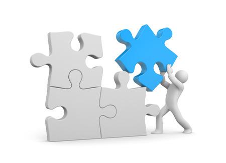 piezas de puzzle: Concepto de �xito. Aislado en blanco Foto de archivo
