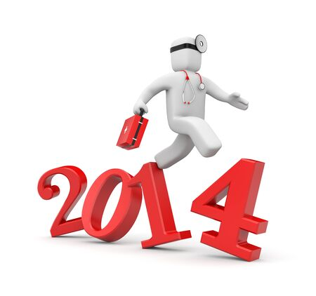 men running: Doctor run to new year. Reform of Medicine in USA