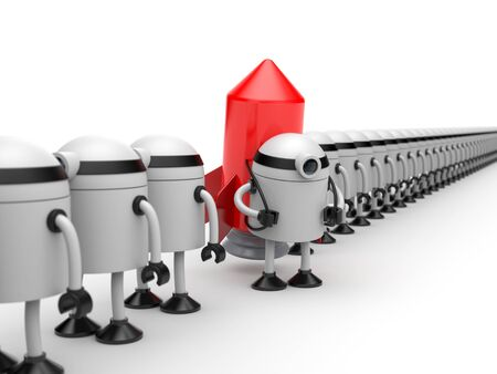 infirmity: Robot which stands out from the crowd of other robots Stock Photo