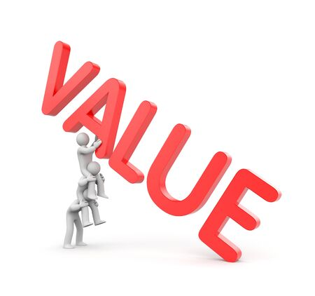 values: Three person with VALUE 3d text