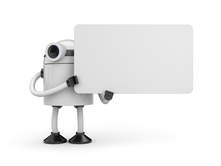 white poster: White robot businessman holding a empty sign