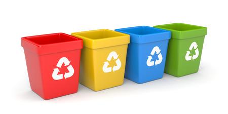reciclar: Contenedores de reciclaje de colores. 3d ilustraci�n