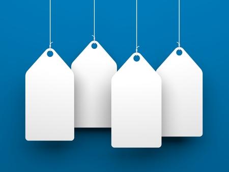 étiquettes blanches sur fond bleu. Conceptuel 3d illustration