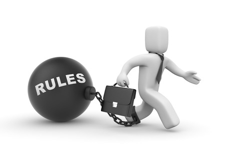 rules: Rules for business which impede the development Stock Photo