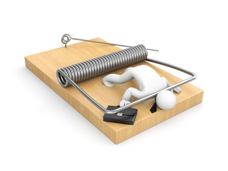 banking problems: Businessman on mousetrap - business metaphor Stock Photo