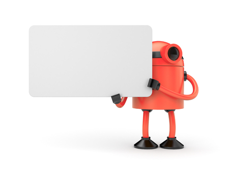android tablet: Orange robot holding a empty sign Stock Photo