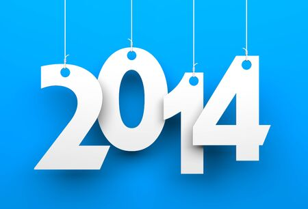 happy  new: White tags with 2014 on blue background
