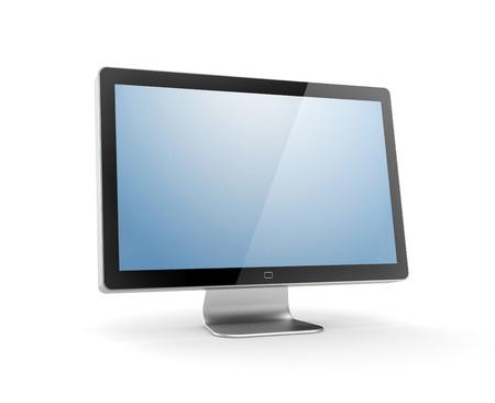 monitor de computadora: Electrónica y tecnologías de la metáfora. Aislado en blanco Foto de archivo