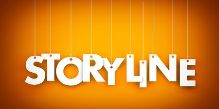 synopsis: Storyline word. Text hanging on the strings