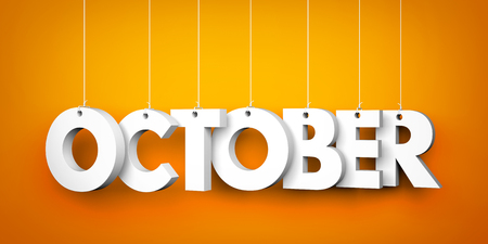 calendar october: October word - suspended by ropes Stock Photo