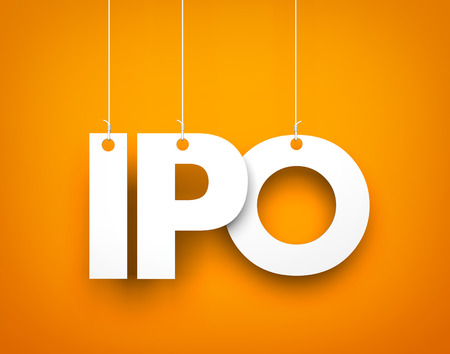 initial public offerings: IPO (Initial Public Offering). Text hanging on the strings