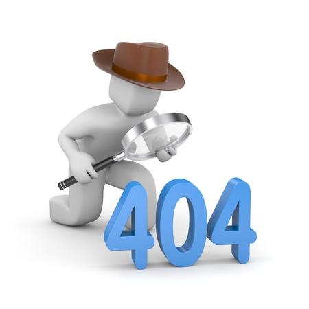 Detective investigates 404 site error Banco de Imagens - 47795382