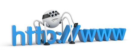 arachnophobia: Cute robot spider and WWW text Stock Photo
