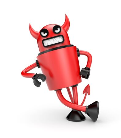 lean machine: Devil leaning on an imaginary object. Isolated on white Stock Photo