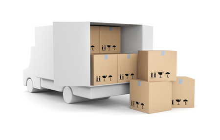 removal van: Delivery metaphor. Isolated on white Stock Photo