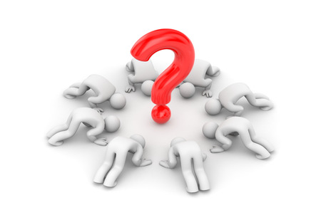questionable request: Worship of the question mark Stock Photo