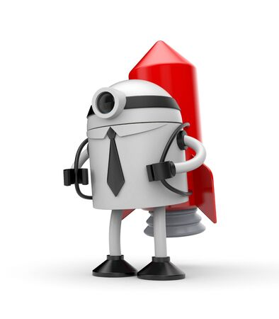 brandweer cartoon: Robot zakenman met rode raket klaar om te beginnen