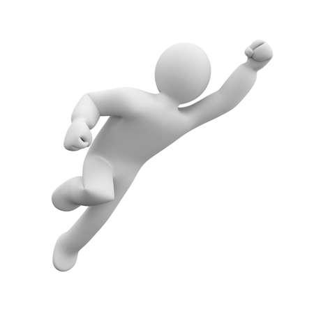 silueta hombre: El hombre 3D en la pose de un superhéroe vuela al rescate