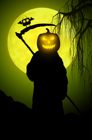 hollows: Illustration for Halloween. Silhouette of death. Stock Photo