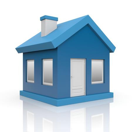 Haus. Isoliert auf weiß mit Reflexion Standard-Bild