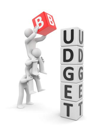 Team houdt het budget. samenspel Stockfoto