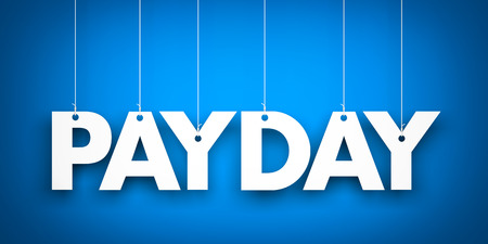payday: Payday word - suspended by ropes Stock Photo