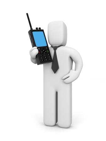 transmitting device: Businessman with walkie-talkie