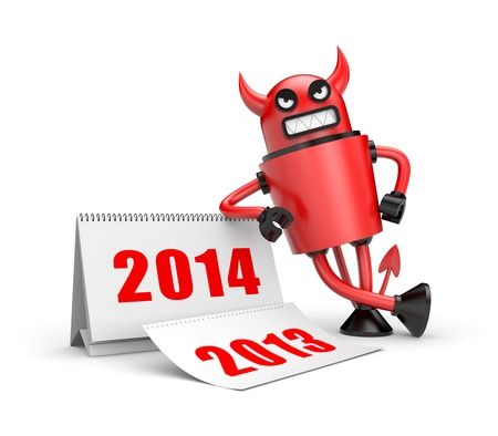 turns of the year: Devil with calendar. Illustration for New Year and Christmas Stock Photo