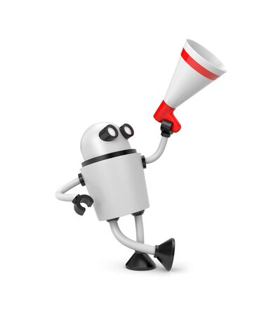 lean machine: Robot and megaphone. Stock Photo