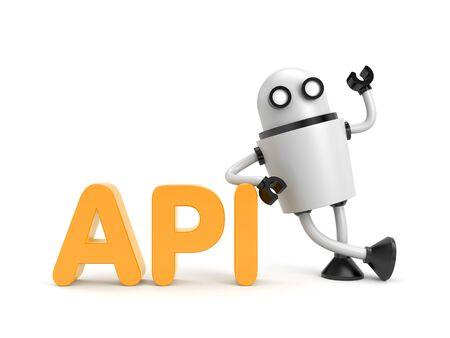api: Robot with API word. Hi-tech metaphor Stock Photo