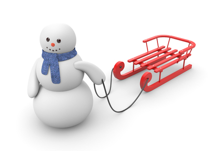 sledding: Snowman goes to ride on red sled. Illustration for winter