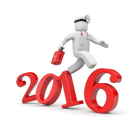 heal new year: Doctor run to new year.