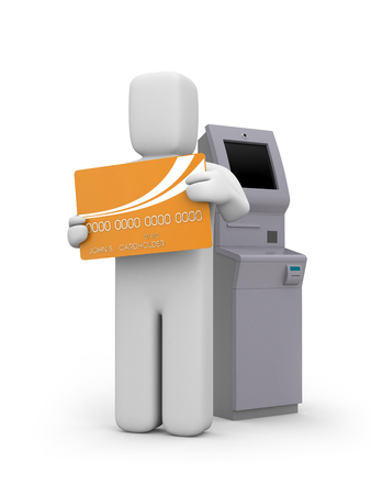 bancomat: Atm machine and person with bankcard