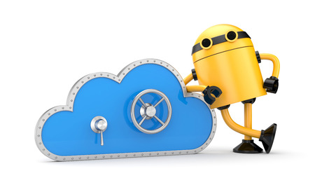 lean machine: Cloud Security concept. Isolated on white Stock Photo