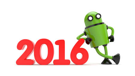lean machine: Green 3D Robot leaning on 2016