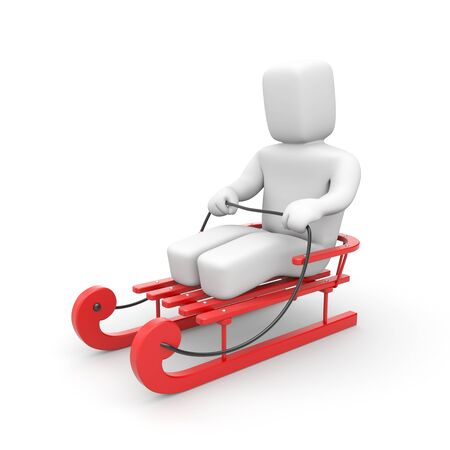 3d person: 3D Person riding on red sled